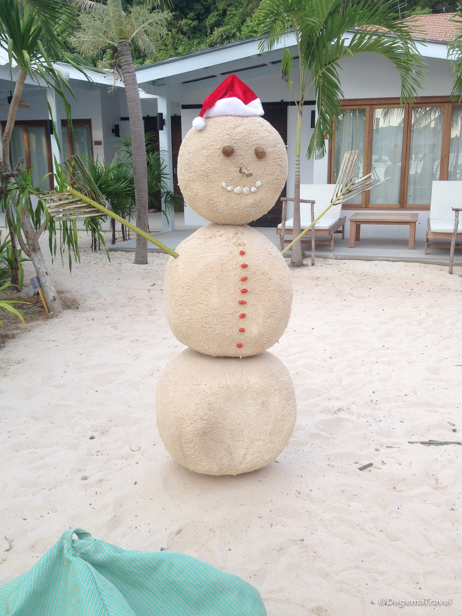 Sand snowman at The Cove Phuket, Thailand
