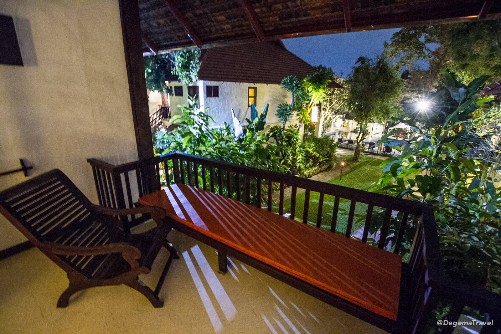 Balcony seating at Lanna Dusita Boutique Restaurant in Chiang Mai, Thailand