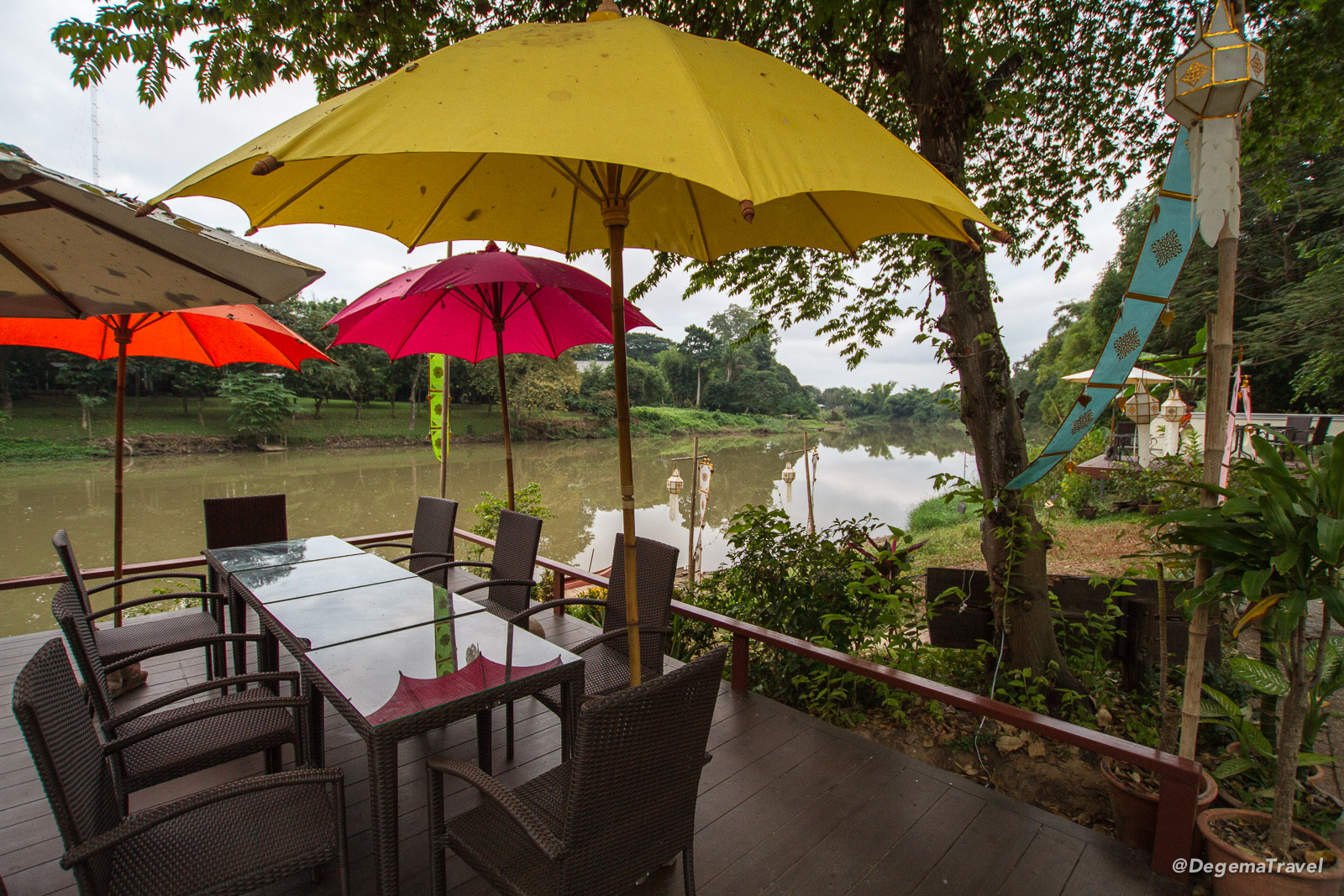 Restaurant by the river at Lanna Dusita Boutique Restaurant in Chiang Mai, Thailand