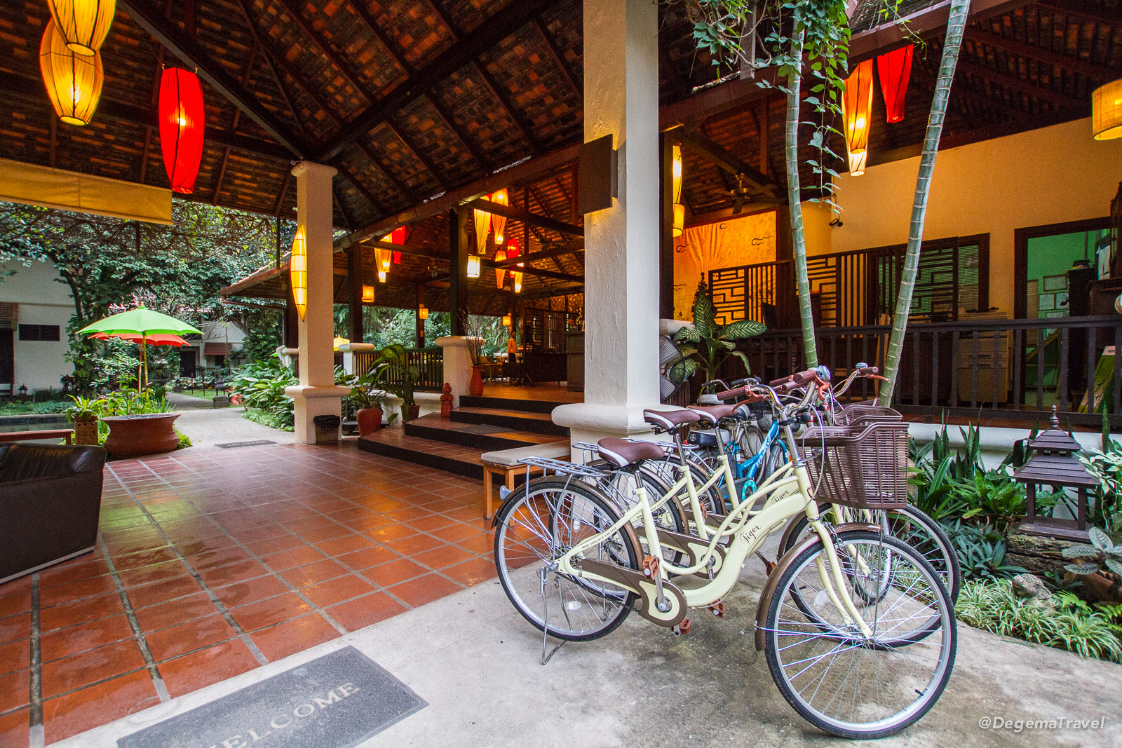 Bicycles at the lobby of Lanna Dusita Boutique Restaurant in Chiang Mai, Thailand