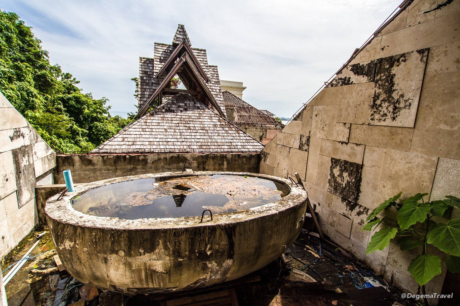Inside the abandoned Phuket Peninsula Spa & Resort in Nai Yang, Phuket, Thailand