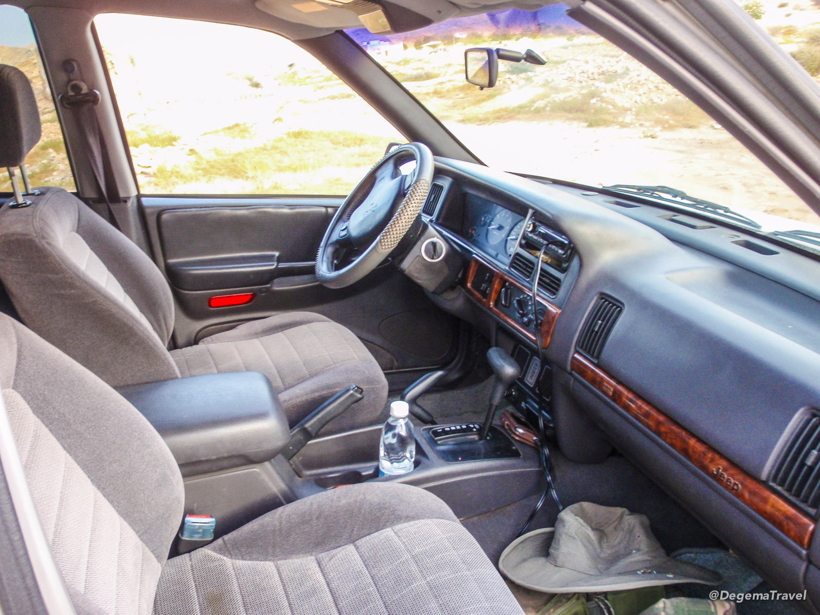 Inside a 1997 Jeep Grand Cherokee Laredo in Muscat, Oman