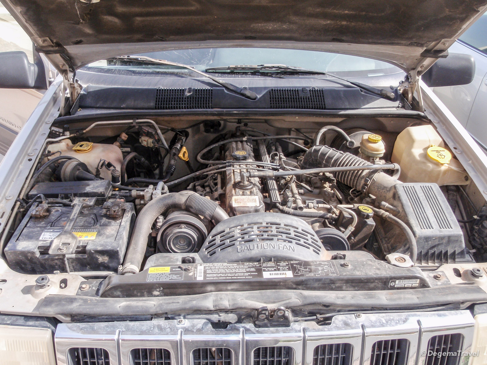 Engine bay of 1997 Jeep Grand Cherokee Laredo in Muscat, Oman