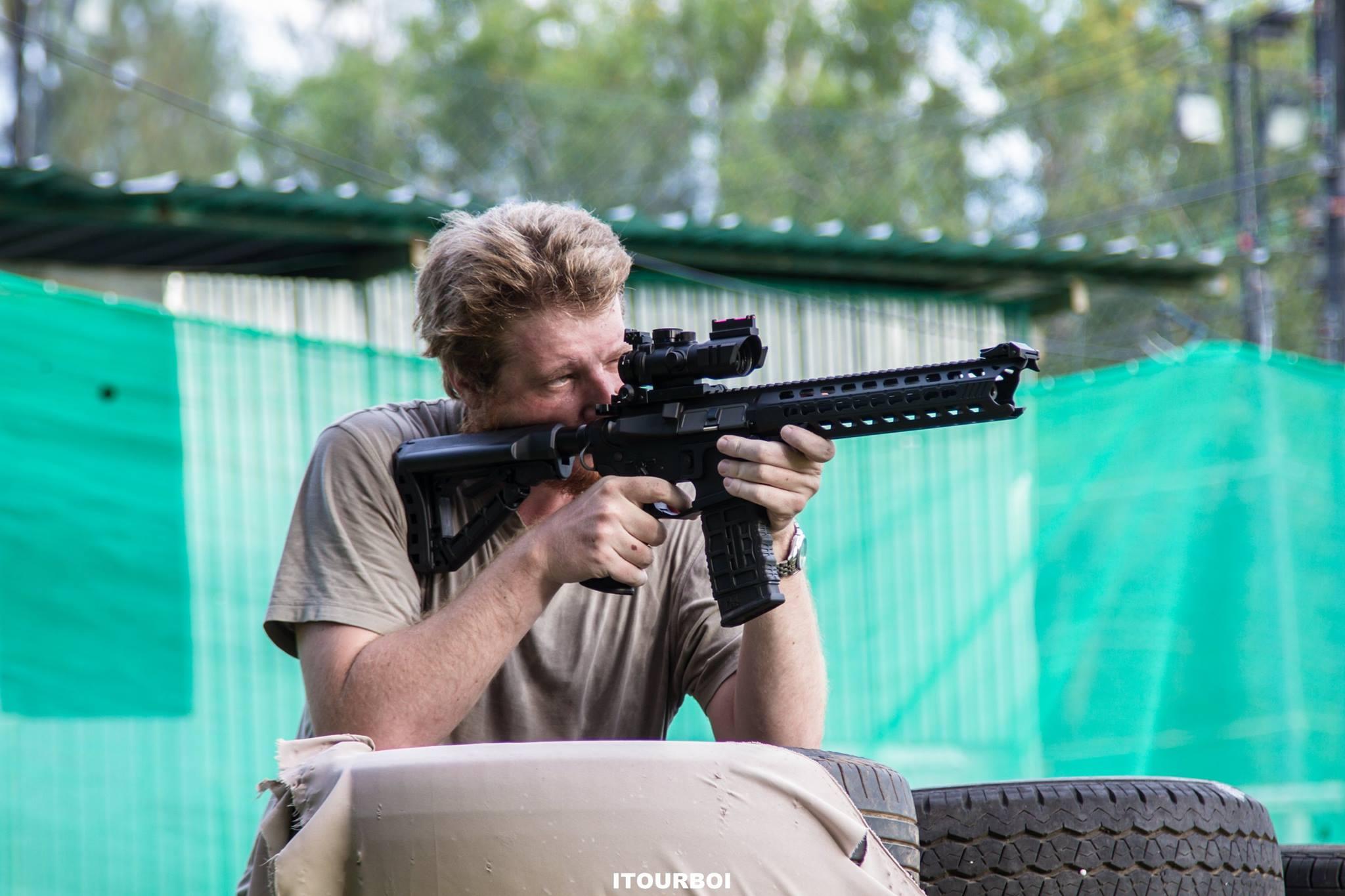 Checking the new sight on my new rifle at Phuket Airsoft Club, Thailand