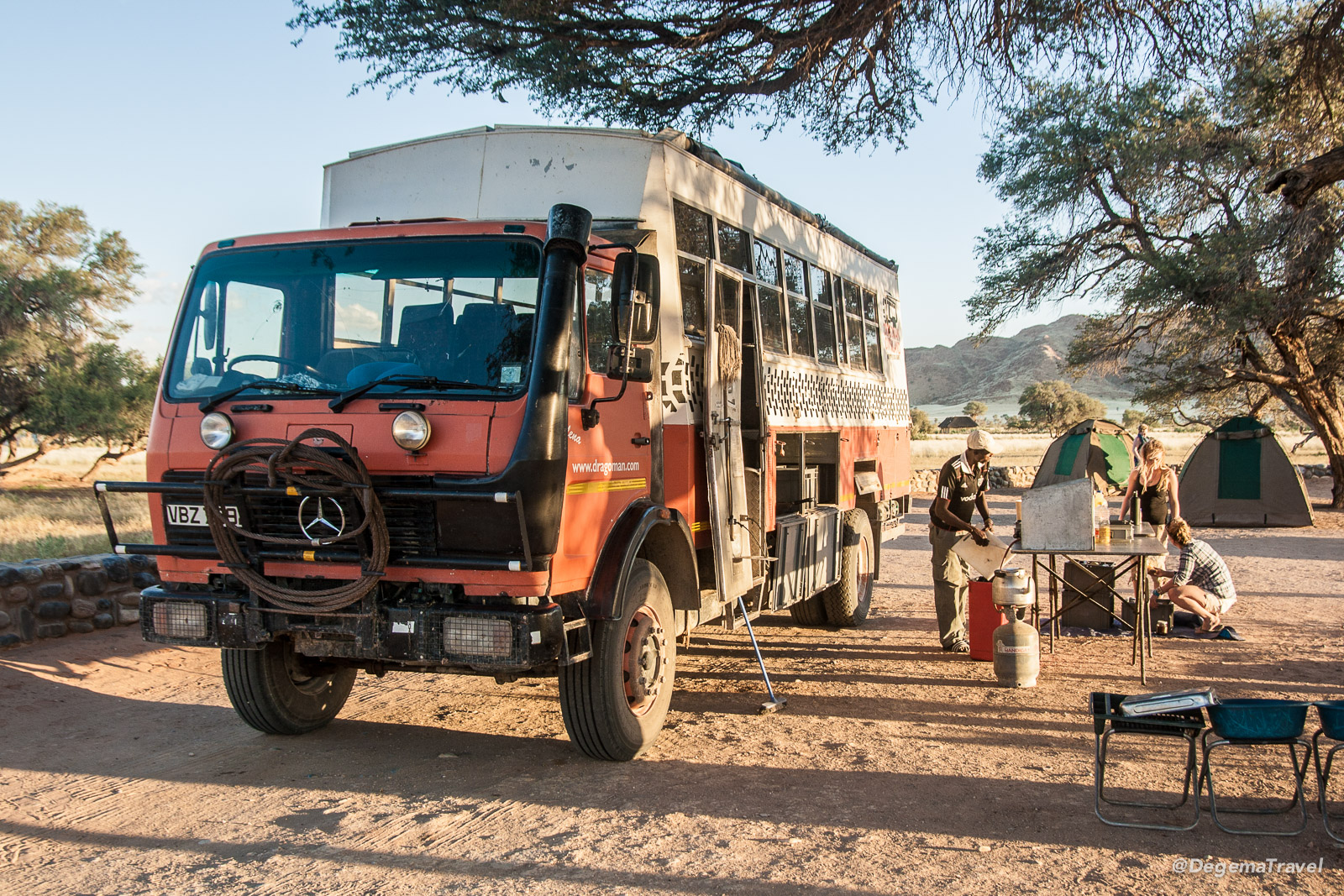 Our Dragoman truck at the campsite near Sesriem, Namibia