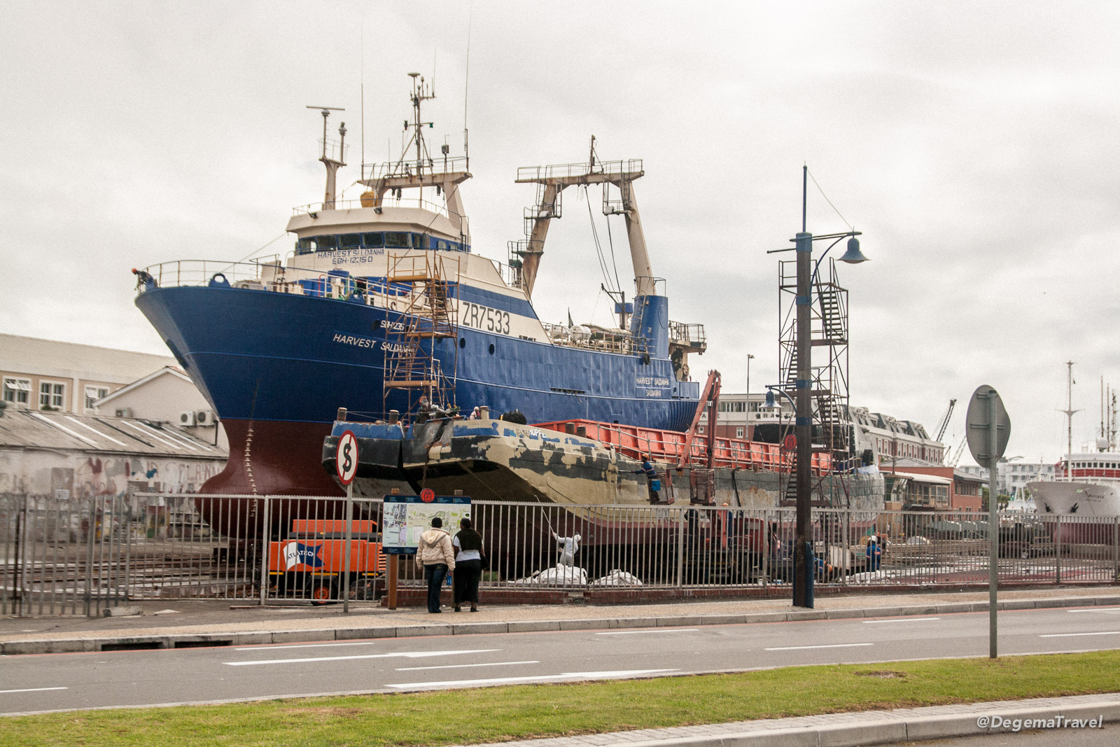 A large ship on hardstanding in Cape Town, South Africa