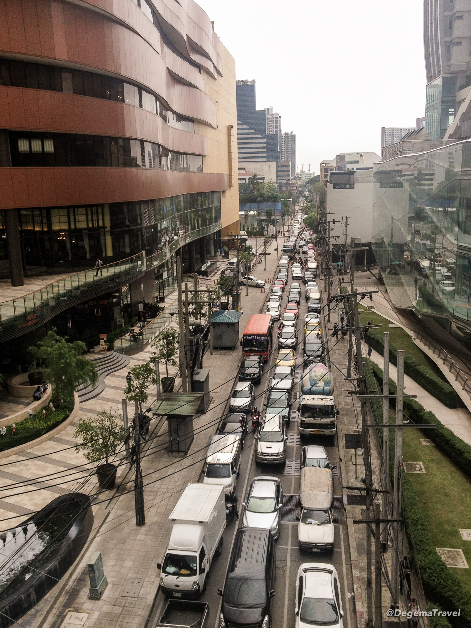 A traffic jam in Ekkamai, Bangkok, Thailand