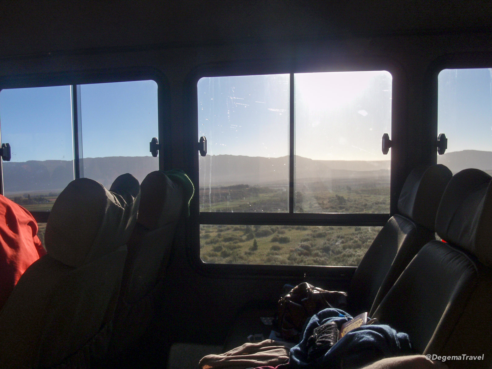 The view from the bus, driving through South Africa