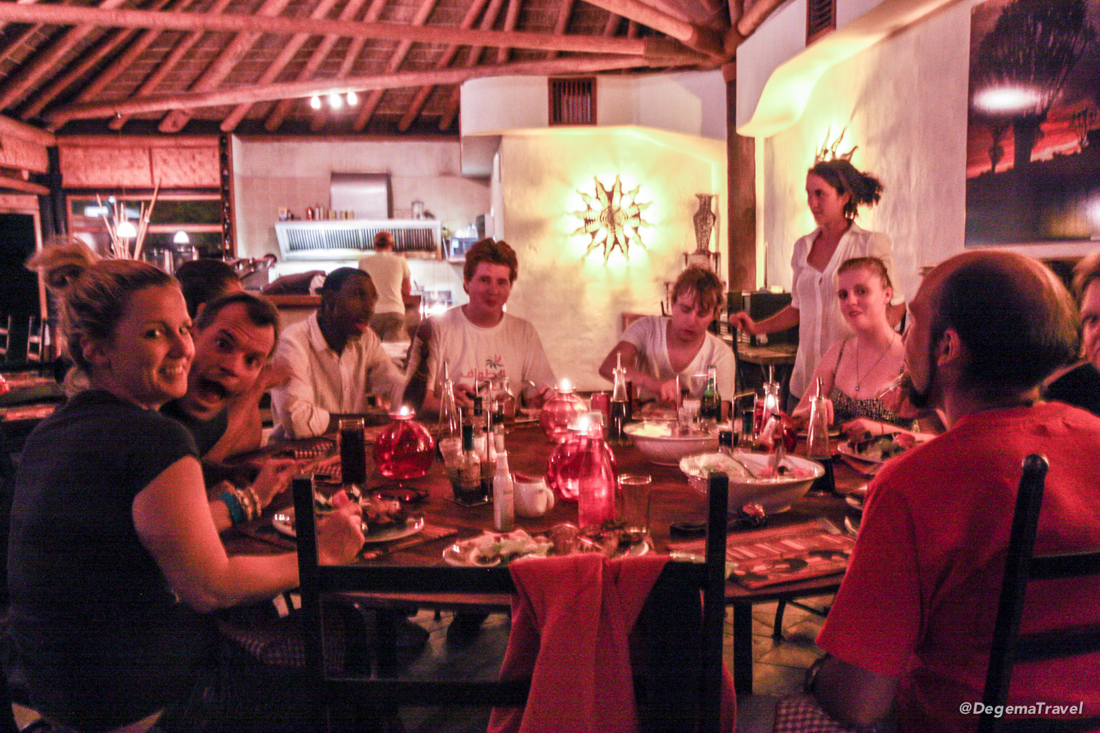 Dinner at the restaurant at Felix Unite, Namibia
