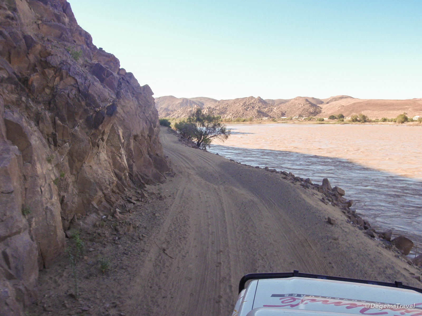 Driving along the banks of the Orange River, Namibia