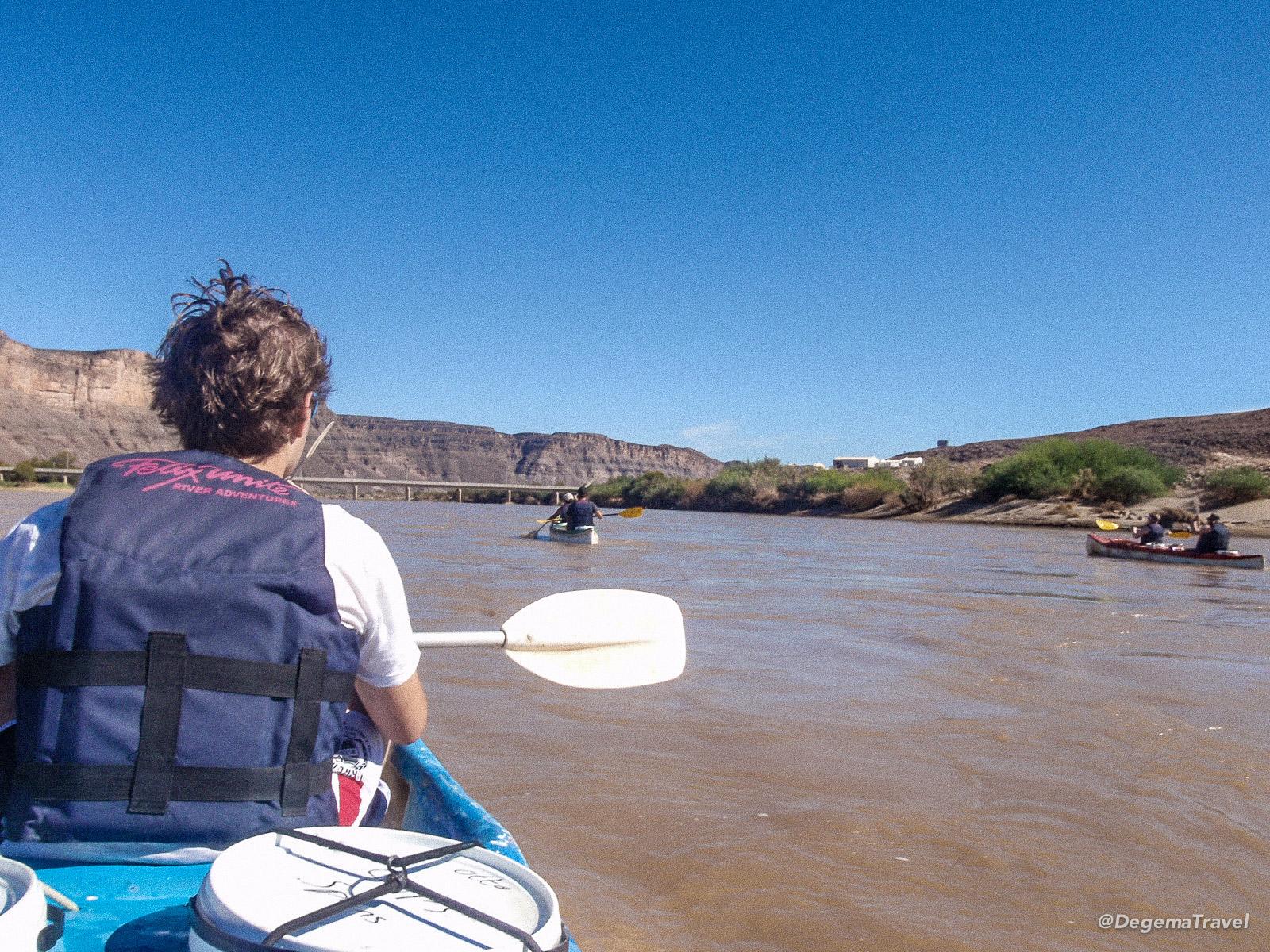 Kayaking down the Orange River, Namibia