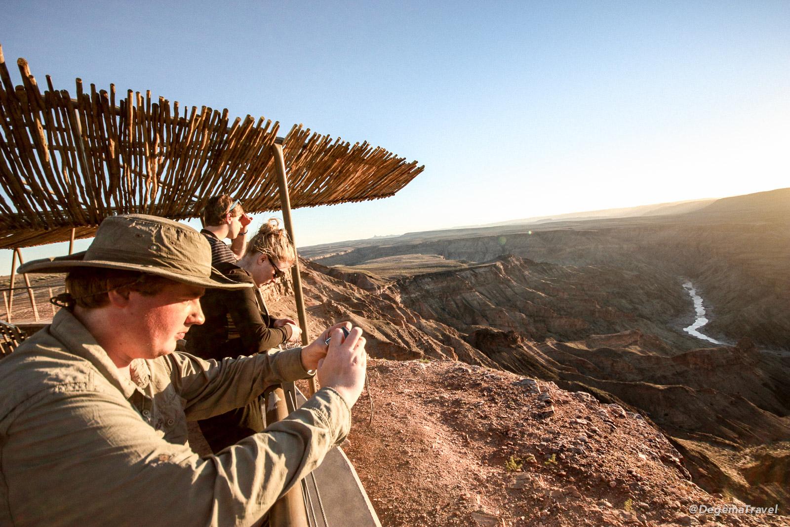 Enjoying the view at Fish River Canyon, Namibia