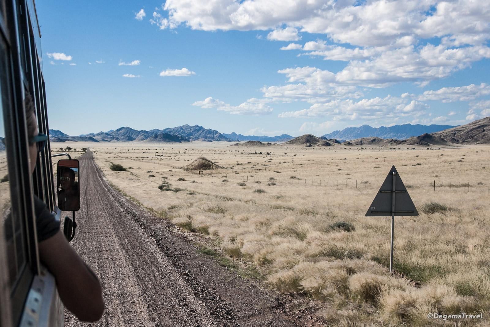 On the road towards Sesriem, Namibia, aboard Helena - the Dragoman truck