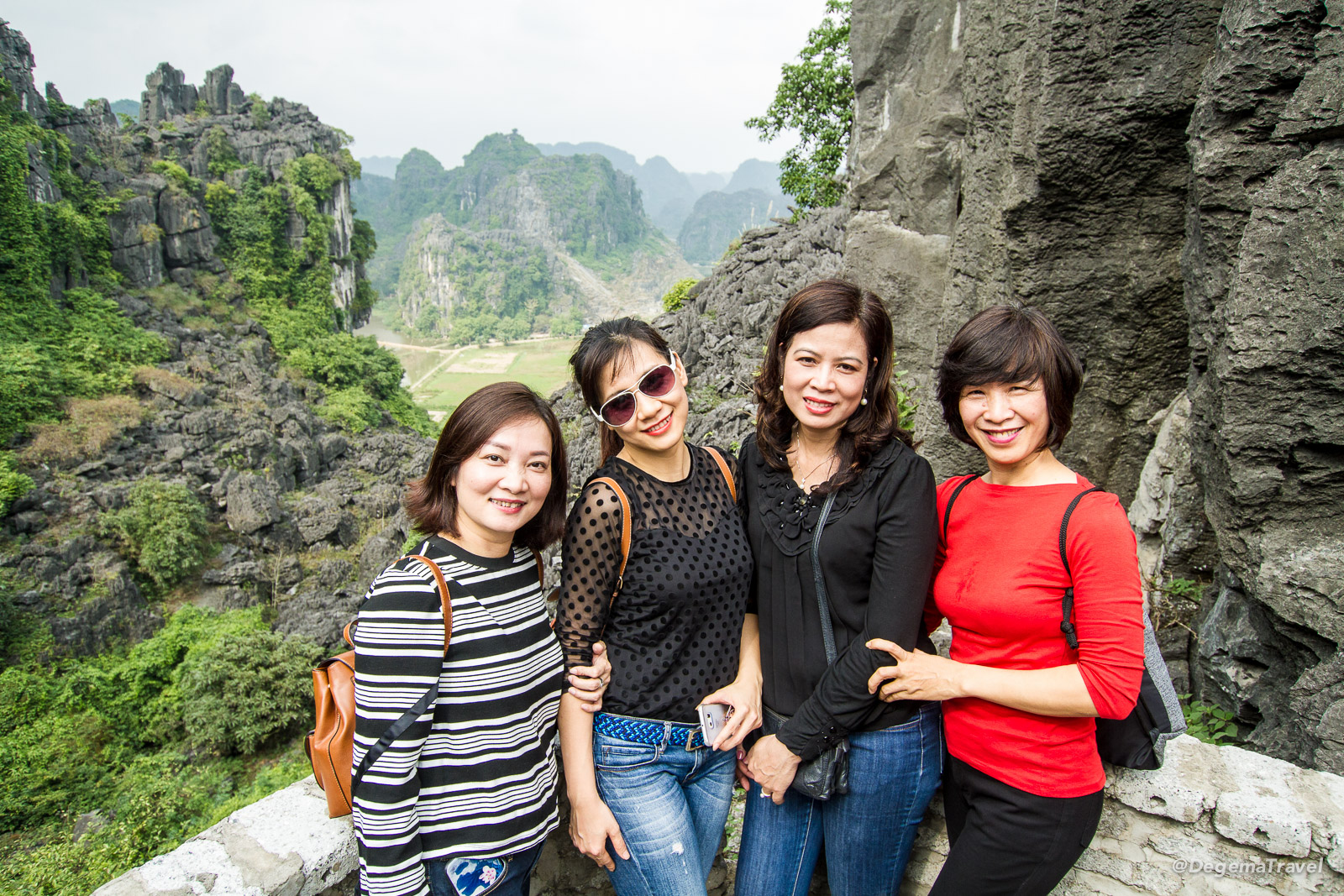 The ladies from Vietnam Airlines in Hang Mua, Tam Coc, Vietnam