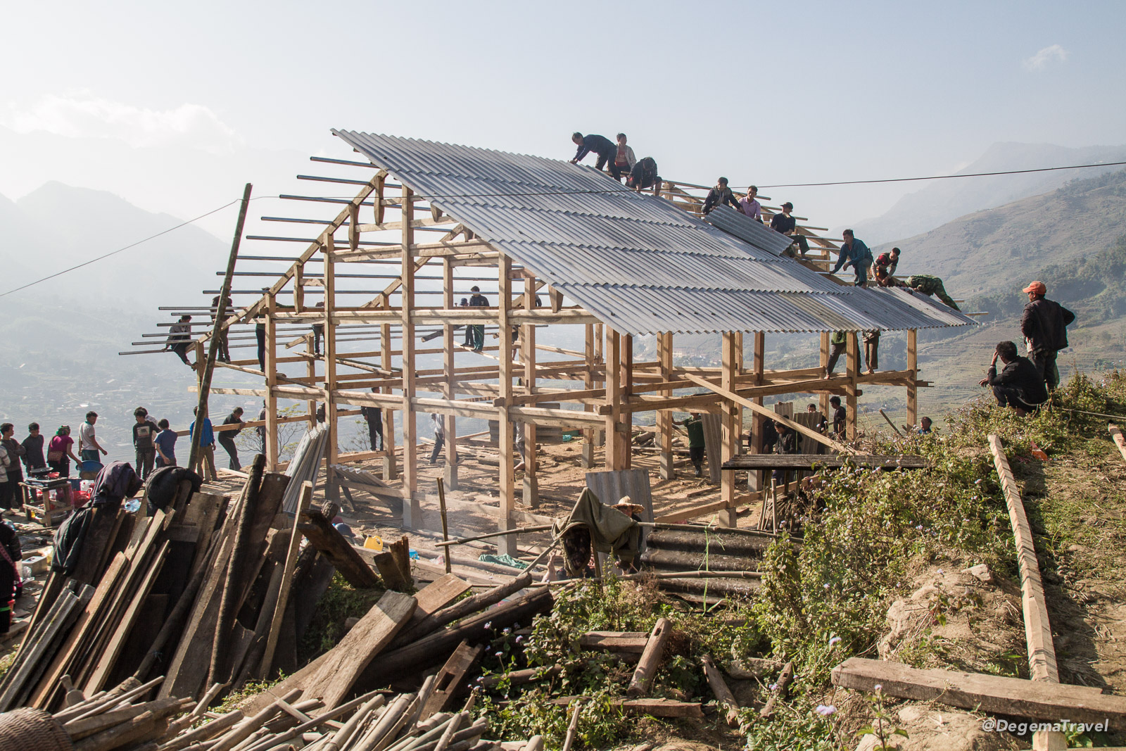 House under construction in the Mường Hoa Valley near Sapa, Vietnam