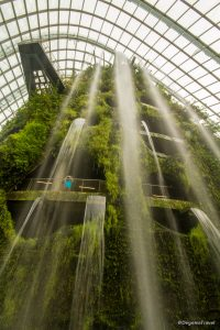 The waterfall in Gardens by the Bay in Singapore