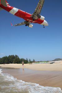 Plane landing at Phuket Airport, Thailand