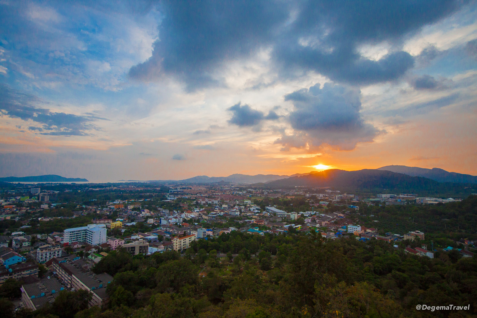 Sunset from Khao Rang Hill in Phuket Town, Thailand