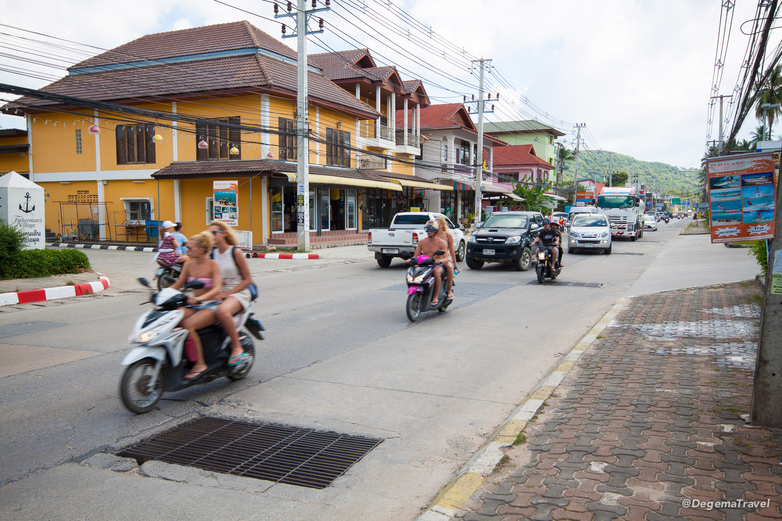 Tourist driving in Koh Samui, Thailand without helmets