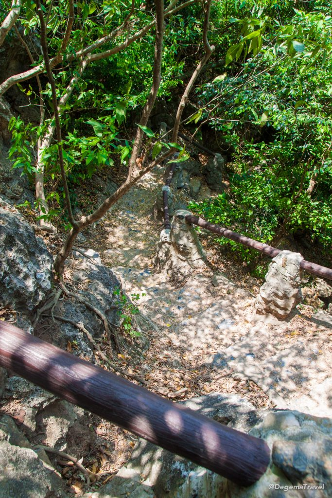 The steep climb up to Phraya Nakhon Cave near Hua Hin, Thailand