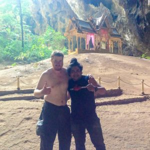 With my random hero in front of Khuha Kharuehat Pavillion in Phraya Nakhon Cave near Hua Hin, Thailand