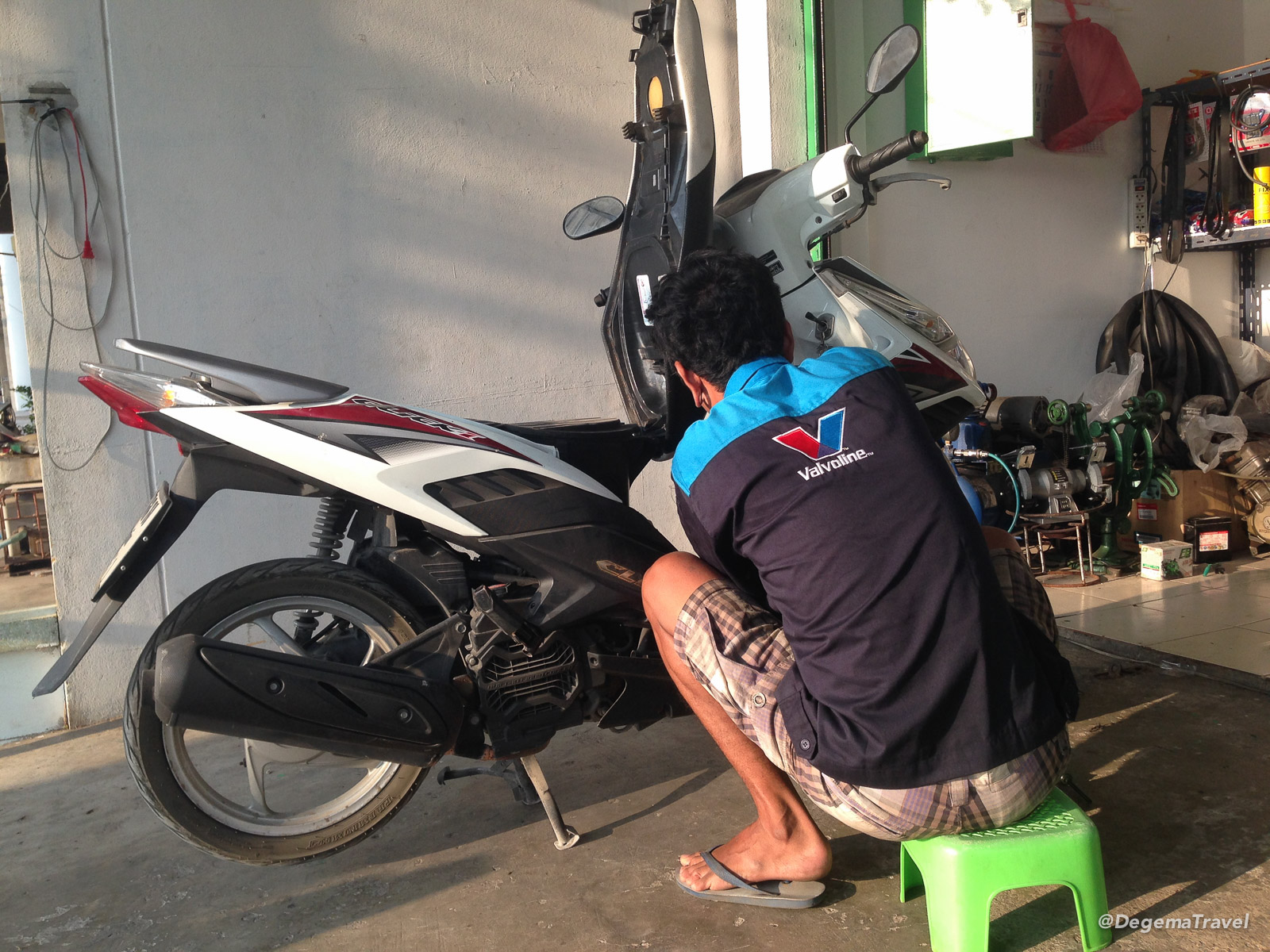 Scooter being repaired in Phuket, Thailand