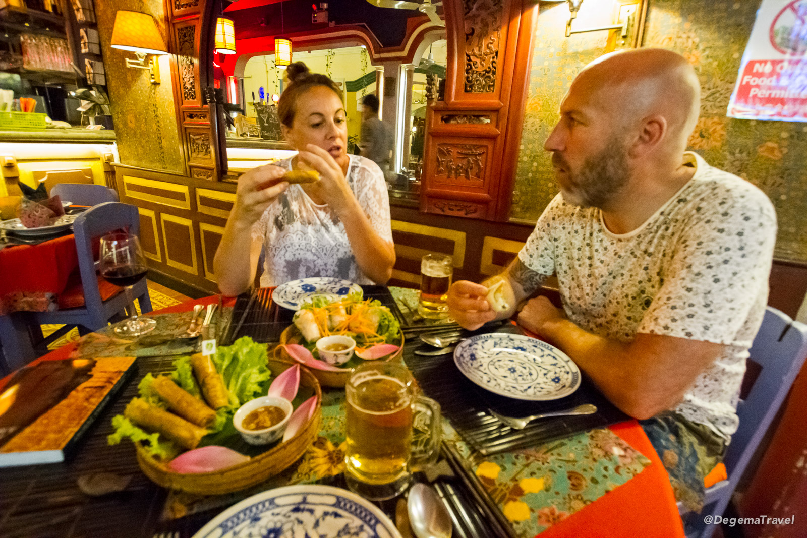 Julia and Bruce eating in Siem Reap, Cambodia