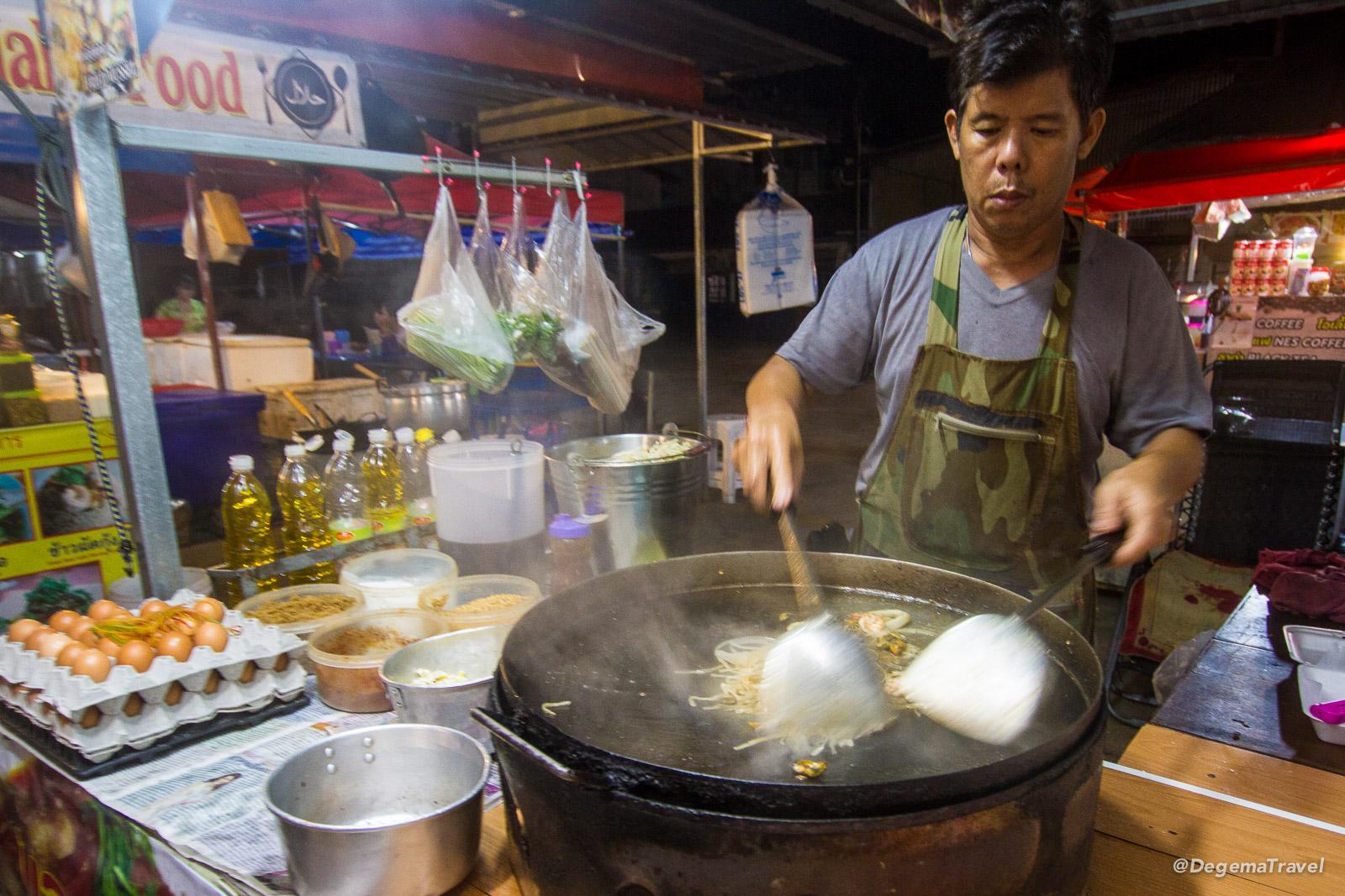 Making Pad Thai at Sainamyen Market in Patong, Phuket, Thailand