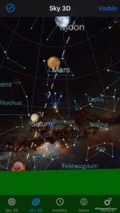 View of five planets on a night sky app