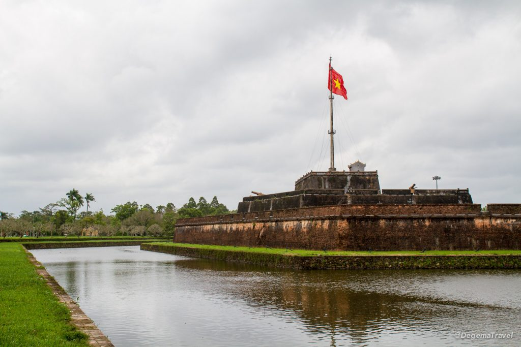 Part of the city walls of the Imperial City in Hue, Vietnam