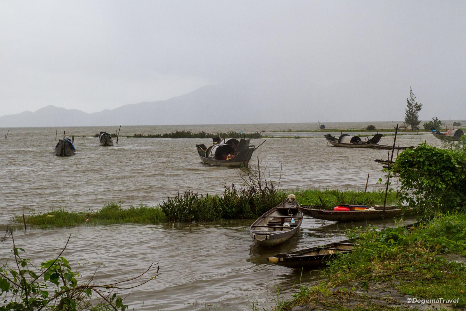 Fishing boats on Tam Giang Lagoon near Huế, Vietnam