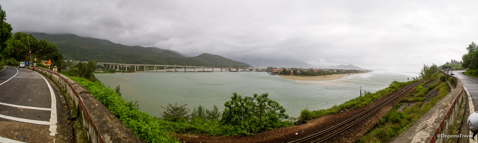 The entrance to the Lăng Cô Lagoon, viewed from the Hải Vân Pass, Vietnam