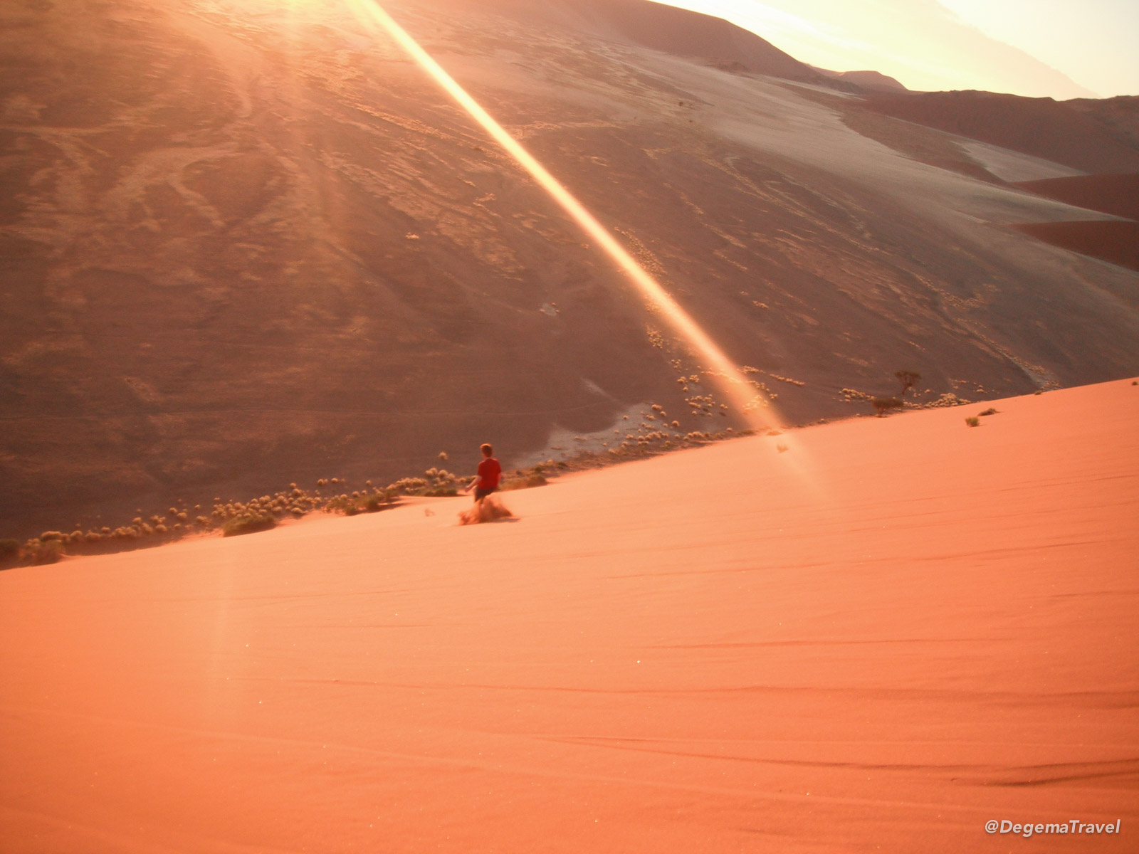 Running down Dune 45 in Namibia