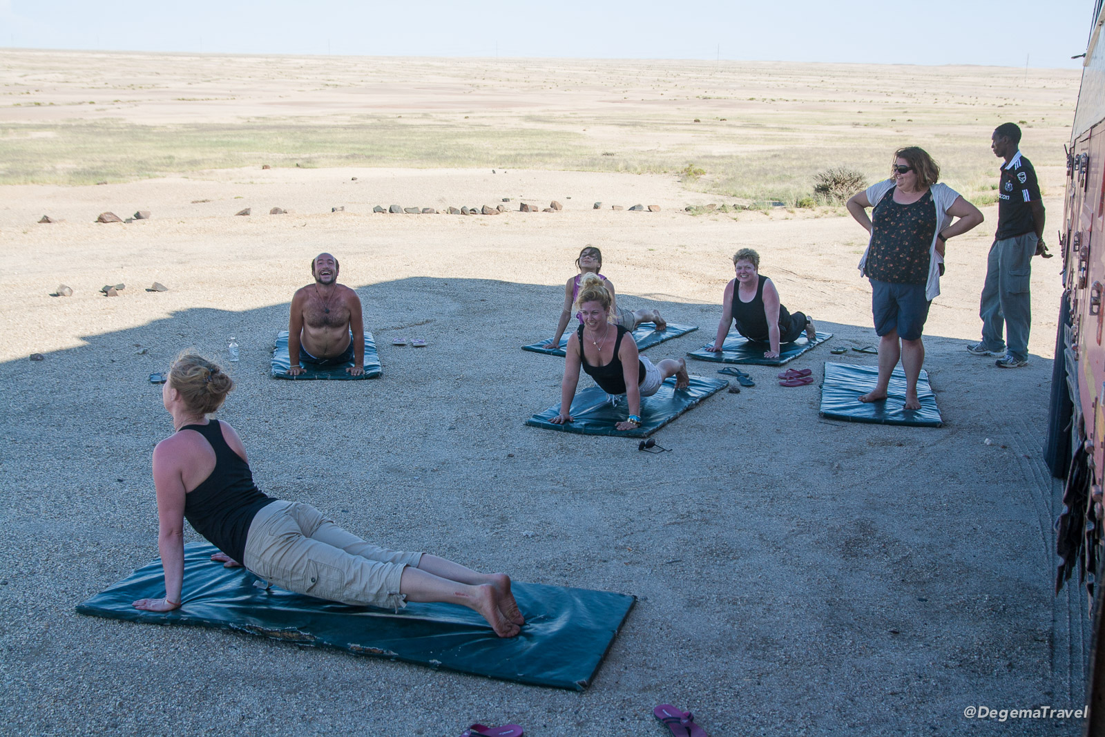 Yoga at Vogelfederberg Campsite in Namibia