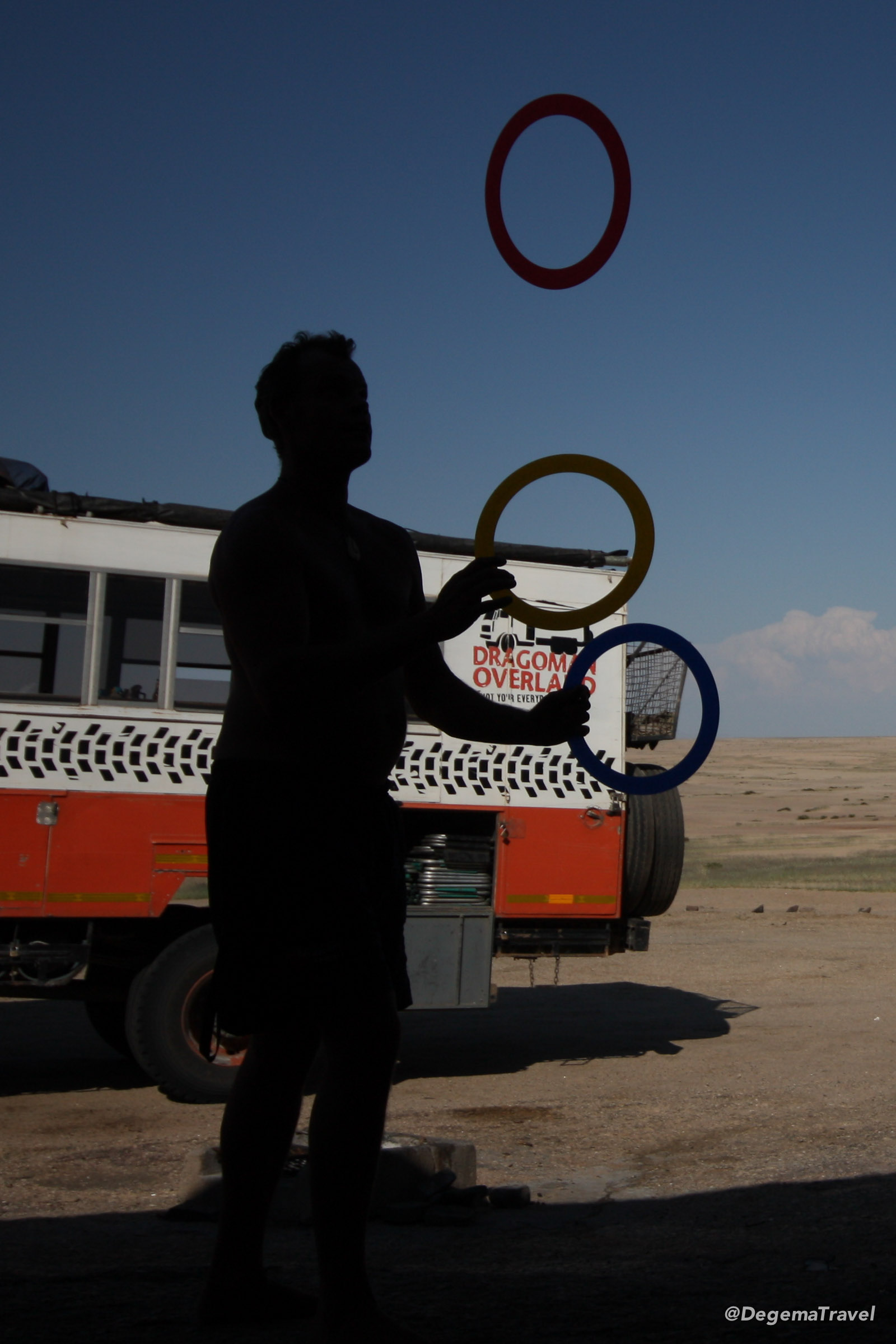 Jase juggling at Vogelfederberg Campsite in Namibia