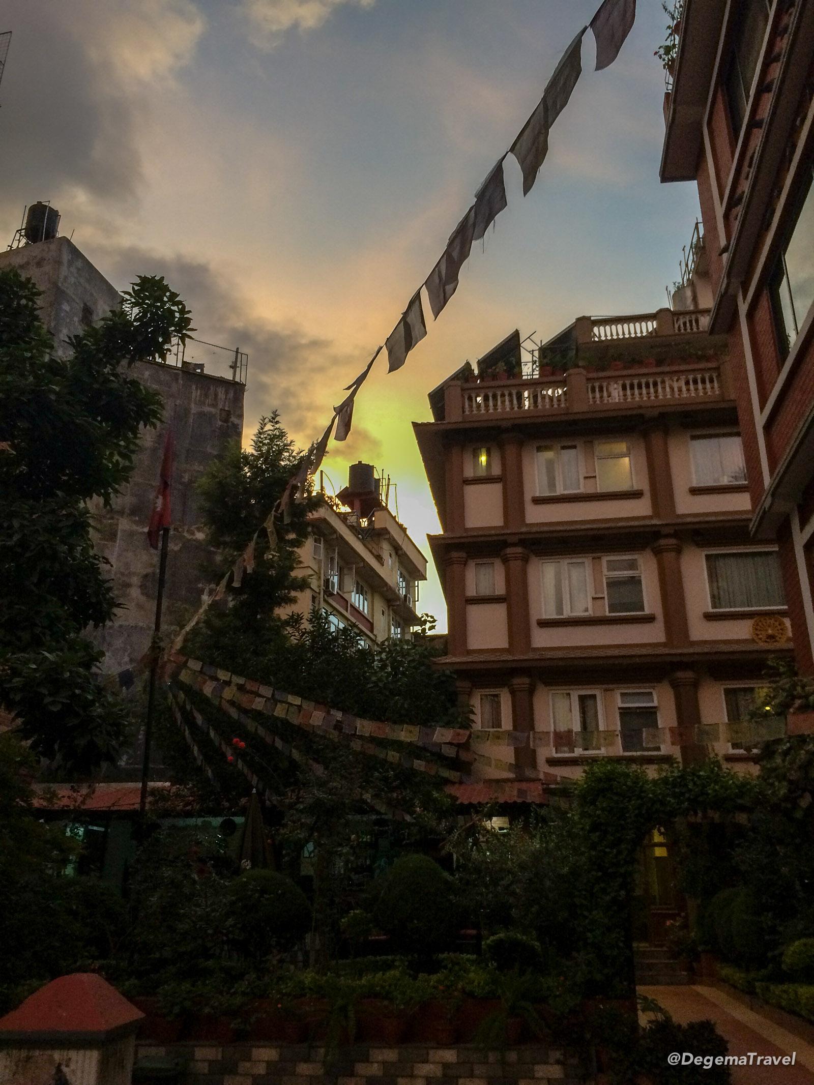 Sunset outside a hotel in Kathmandu, Nepal