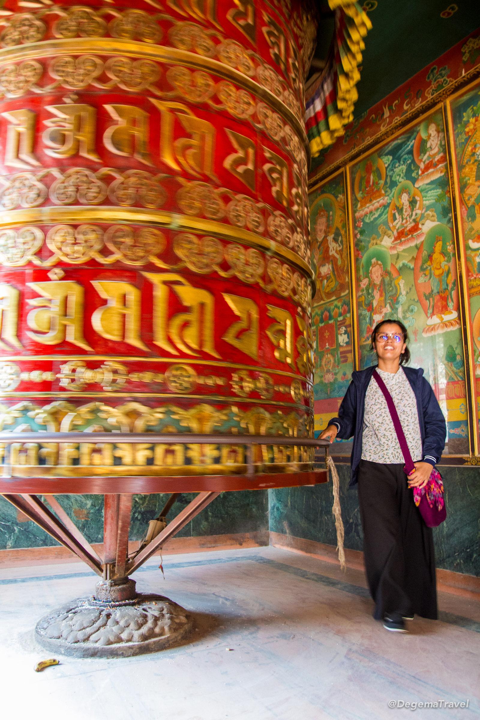 A giant Mani wheel at Boudha Stupa in Kathmandu, Nepal