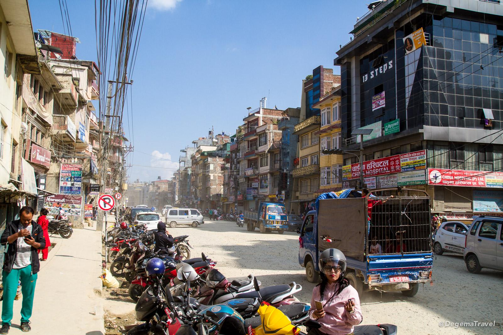 The street outside Boudha Stupa in Kathmandu, Nepal