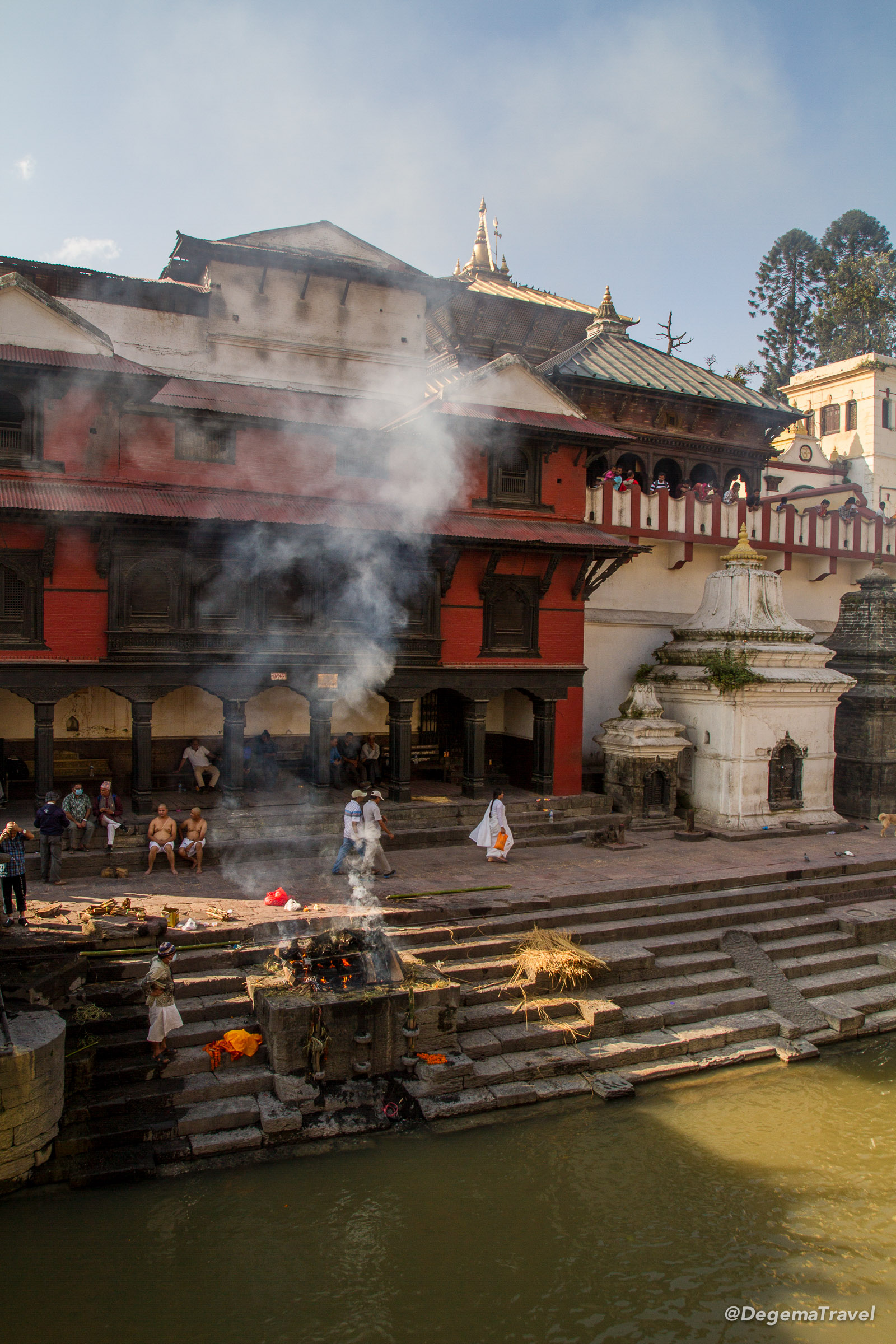 Funeral pyres at Pashupatinath Temple in Kathmandu, Nepal