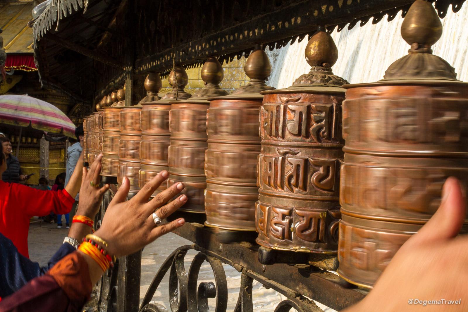 Mani wheels at Swayambhu Temple in Kathmandu, Nepal