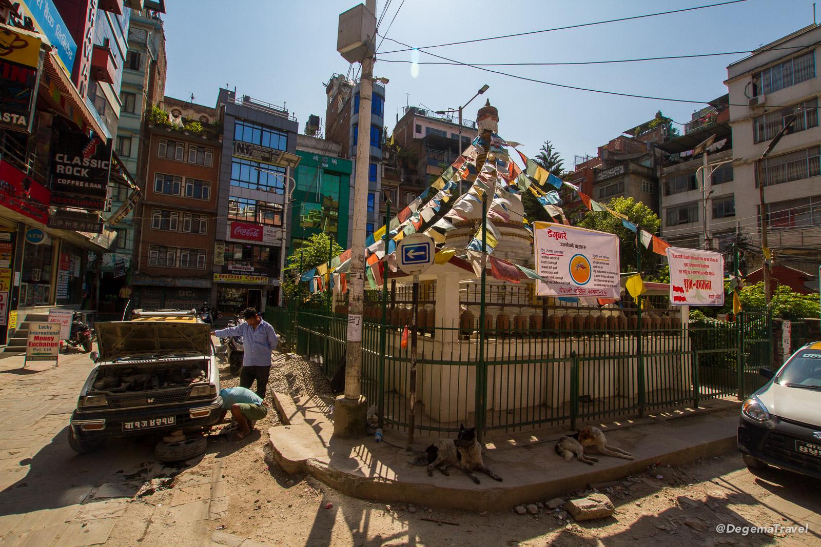 Part of Thamel in Kathmandu, Nepal