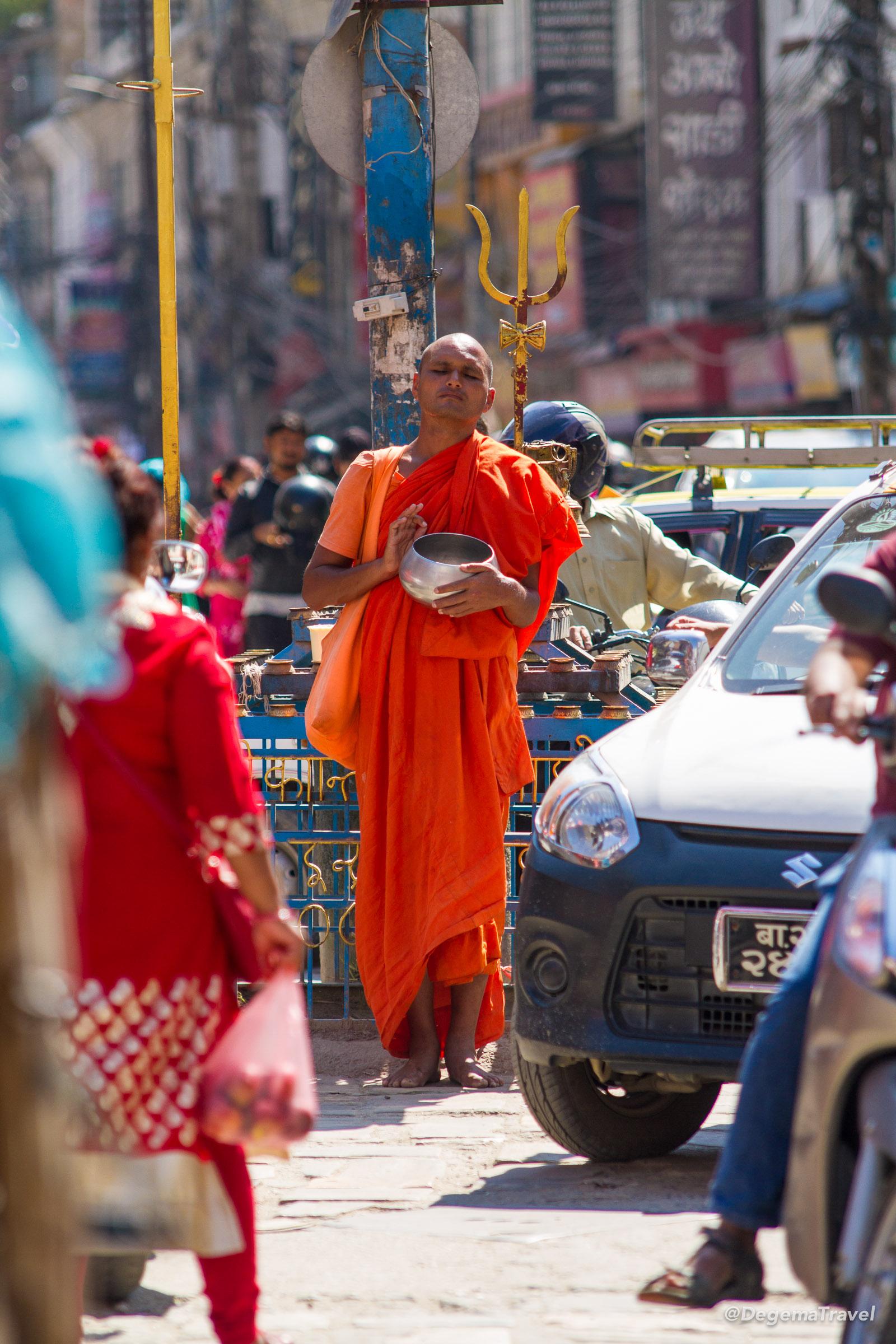 A Buddhist monk in Thamel, Kathmandu, Nepal