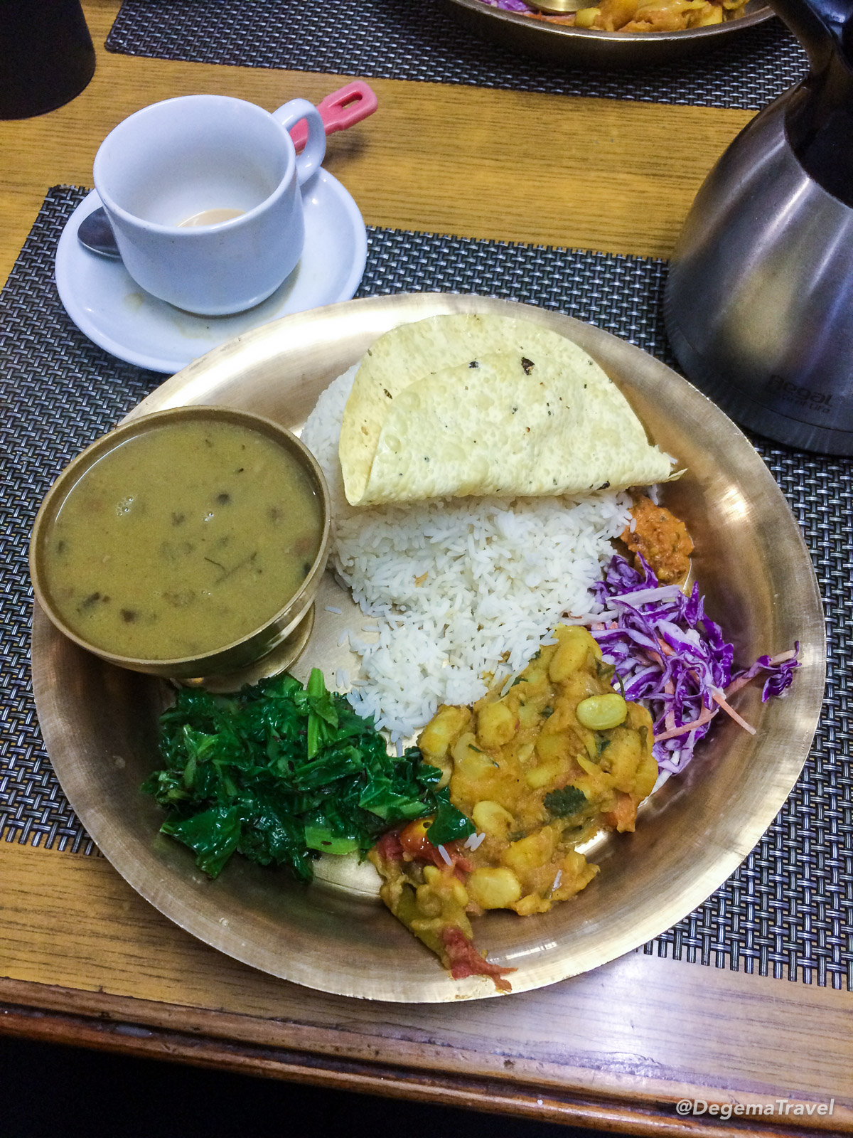 Dinner of dal baht in my guesthouse in Ghorepani in the Annapurna Conservation Area, Nepal